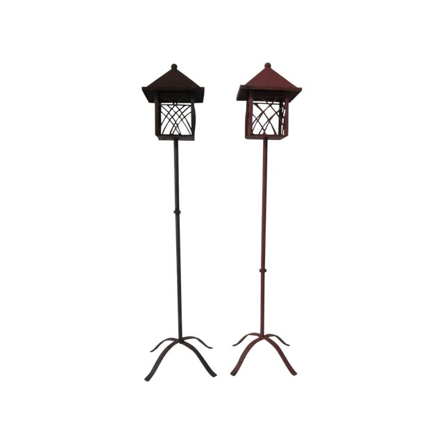 Image of Metal Outdoor Lanterns - Pair