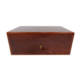 Vintage Hermes Burl Wood Lacquer Humidor W/ Keys