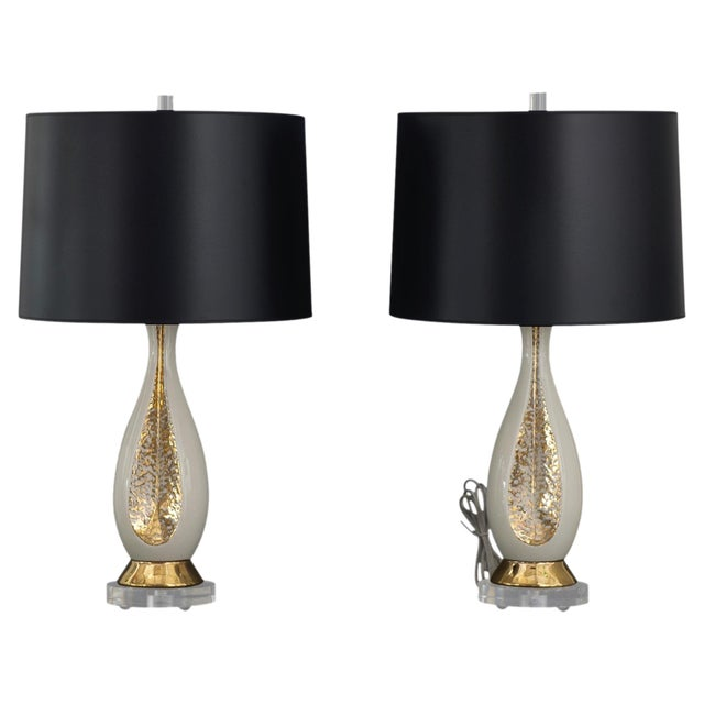 Pair of Danish Creamy White and Gold Table Lamps - Image 1 of 6