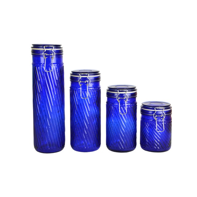 Image of Vintage French Swirl Canisters S/4
