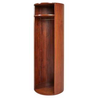 Lehigh Furniture Danish Modern Walnut Cylindrical Rotating Wardrobe