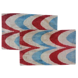 Red, White & Blue Turkish Ikat Pillows - A Pair