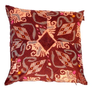 Balinese Ikat Pillows in Dark Red - A Pair
