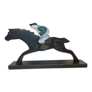 Vintage Folk Art Wood Horse Jockey