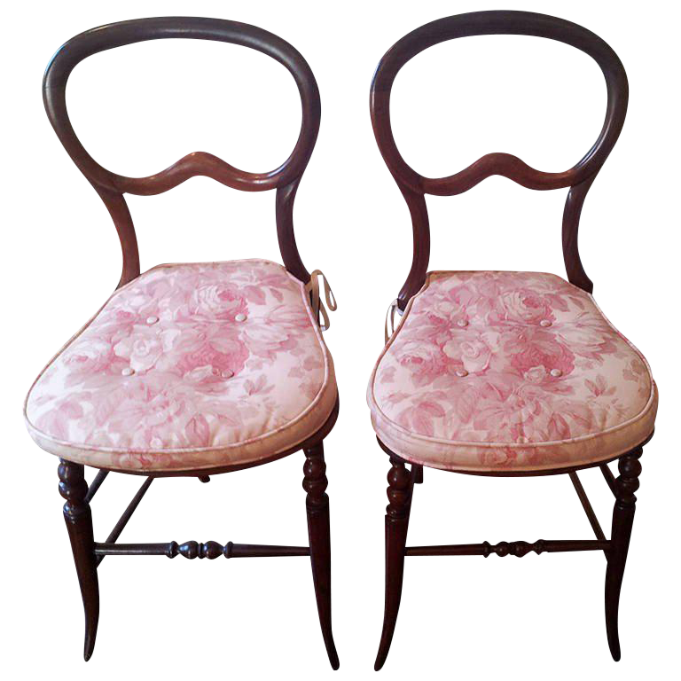 Pair Of Mahogany Balloon Back Chairs/Bennison Seats   Image 1 Of 9