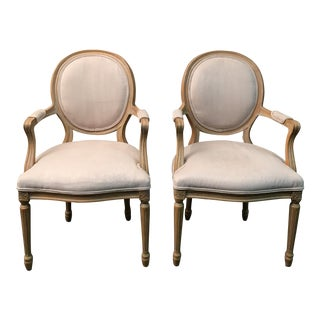Classic Oval Back Accent Chairs - A Pair