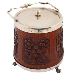 Carved English Oak Biscuit Barrel