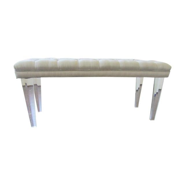 Image of Tufted Silk & Velvet Lucite Bench