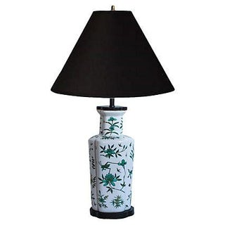 Green & Teal Floral-Motif Table Lamp