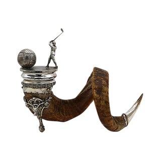 English Horn Golf Trophy w/Inkwell