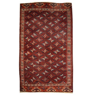 1880s Hand Made Antique Turkoman Yomud Rug - 6′4″ × 10′10″