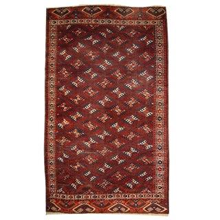 1880s Hand Made Antique Turkoman Yomud Rug - 6′4″ × 10′10″