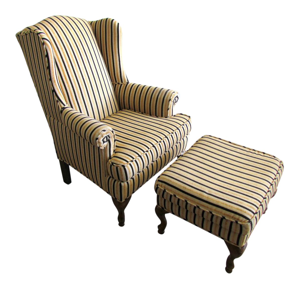 Striped Wing Chair With Ottoman