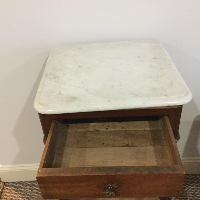 Antique Marble Top Walnut Nightstand - Image 6 of 10