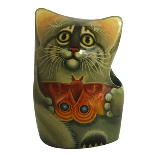 Russian Laquer Cat With Butterfly Pen Holder