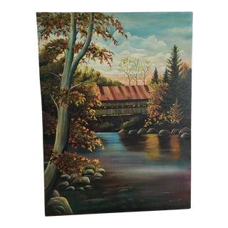 Vintage Old Covered Bridge Original Painting