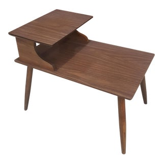 2-Tiered Side Table with Laminate Walnut Top