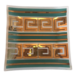 Vintage Fred Press Teal & Gold Geometric Glass Tray