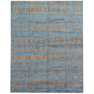 Orange and Blue Moroccan Style Rug with Modern Design