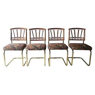 Brass, Rattan & Kilim Dining Chairs - Set of 4