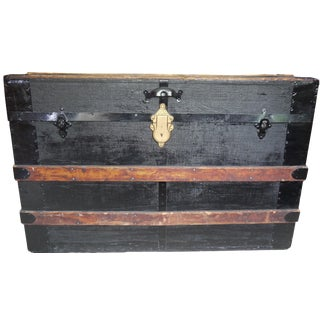 Antique Black Steamer Trunk