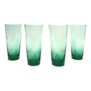 Green Highball Cocktail Glasses - Set of 4