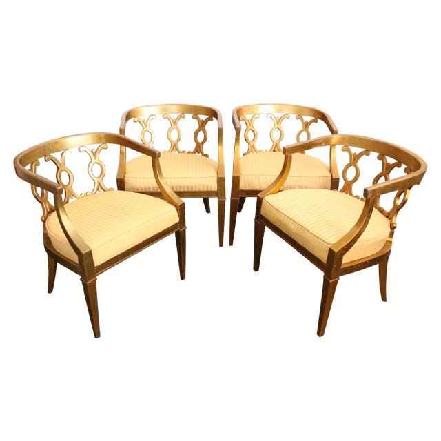 Regency Gold Leaf Barrel Chairs - Set of 4 - Image 1 of 8