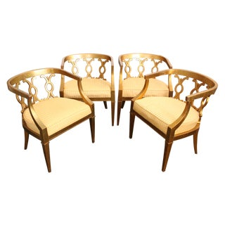 Regency Gold Leaf Barrel Chairs - Set of 4