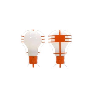 Pair of Oversized Pop Art Mod Light Bulb Table or Hanging Lamps, Orange Frames