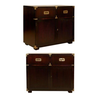 Restored Pair of Vintage Henredon Campaign Chests in Espresso Lacquer
