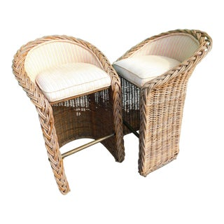 Boho Chic Wicker Stools - A Pair