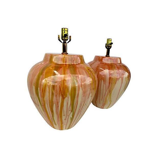 Large Drip Glaze Ceramic Lamps - Pair - Image 3 of 4