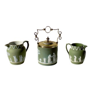 Vintage Green Neoclassical Bar Set by Wedgwood - Set of 3