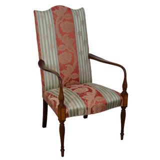 Wood & Hogan Custom Mahogany Inlaid Sheraton Style Lolling Chair