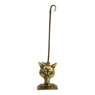 Brass Fox Head & Riding Crop Door Stop