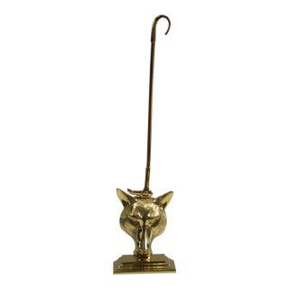Brass Fox Head & Riding Crop Door Stop