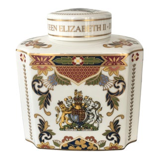 Royal Worcester Queen's Diamond Jubilee China Tea Caddy