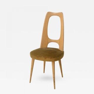 Italian Modern Fruitwood Side/Desk Chair, Guglielmo Ulrich