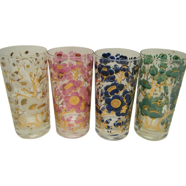 Image of Vintage Fred Press Cherry Blossom Cocktail Glasses - S/4