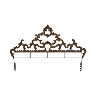 Vintage Gold Gilt Metal King Size Rococo Style Headboard