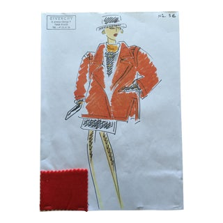 Givenchy Red Coat Croquis Fashion Sketch