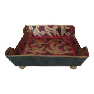Hand-painted Green, Gold & Red Napkin Holder