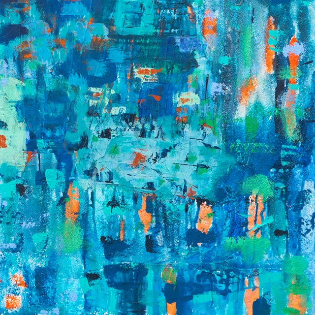 Large Blue & Coral Abstract - Image 4 of 6