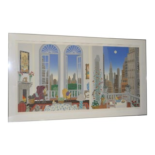 "Thomas McKnight ""Manhattan Fantasy"" Lithograph c.1989"