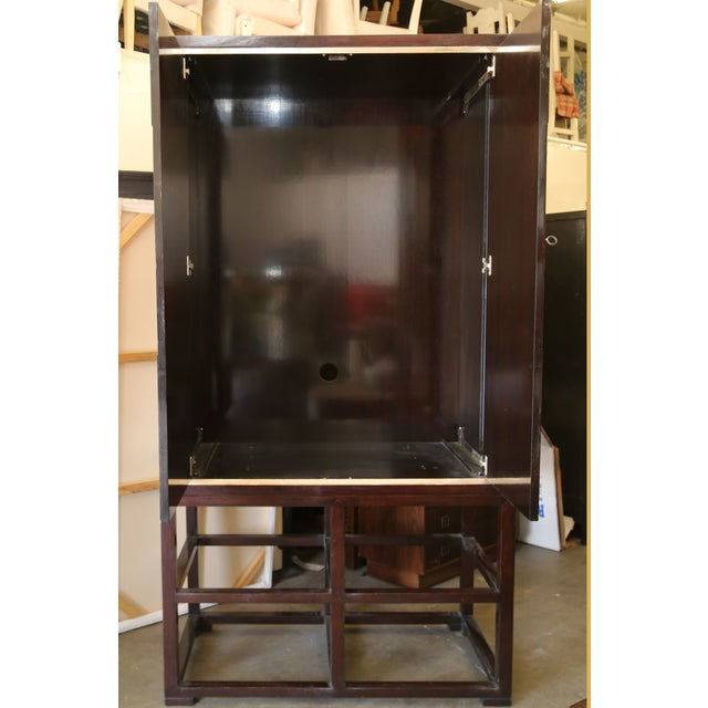 Tall Asian Modern Burl Wood Armoire - Image 4 of 6