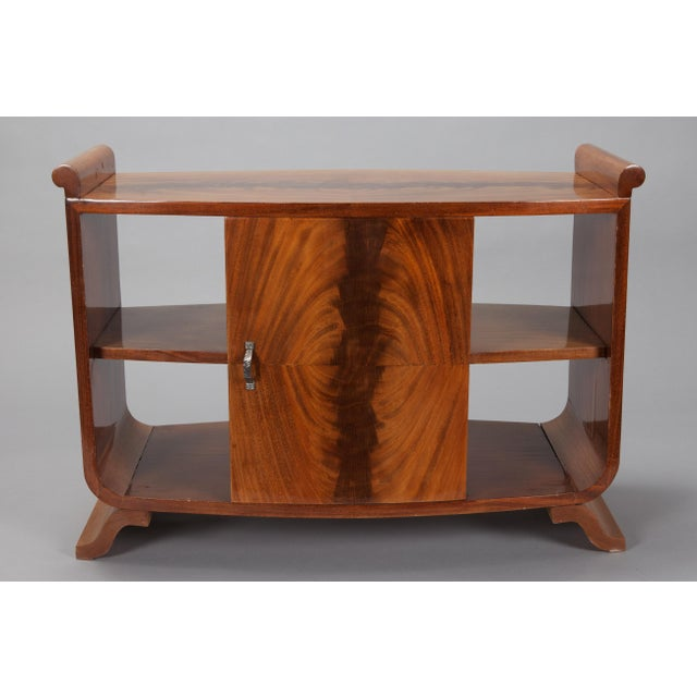 French Art Deco Burl Wood Side Table Cabinet - Image 8 of 8