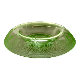 Etched Green Uranium Depression Glass Console Bowl