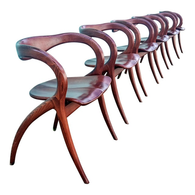 Vintage Solid Curved Cherry Wood Dining Chairs - Set of 6 - Image 1 of 9