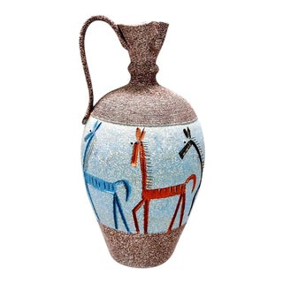 Tall Italian Fratelli Fanciullacci Vase with Horses