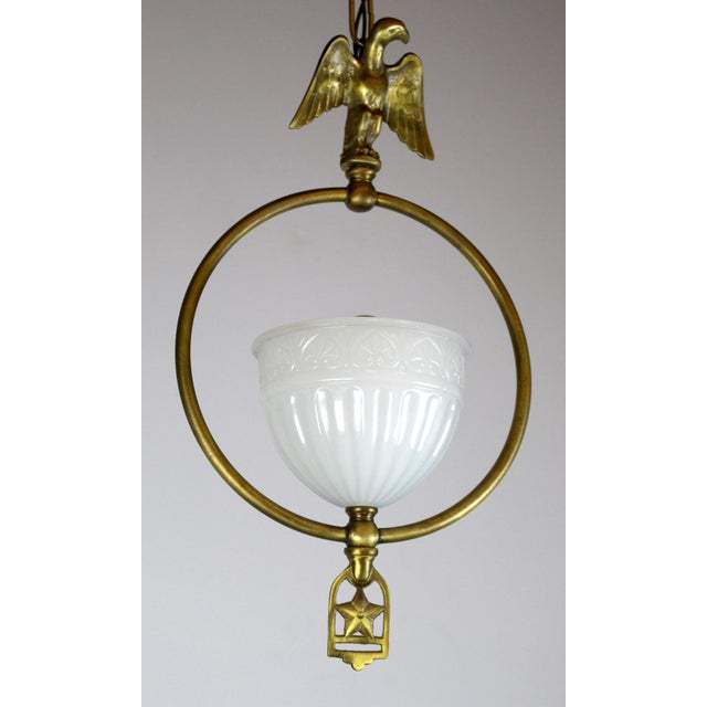 Hall Pendant with Eagle Motif and Original Shade. - Image 6 of 8